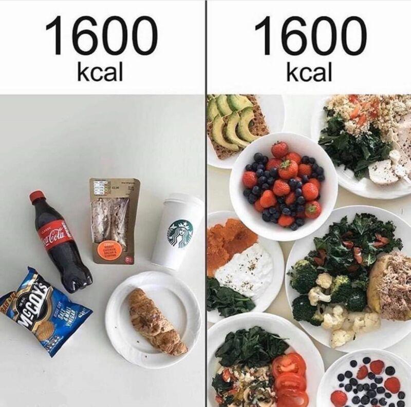 1600 калорий здоровой и нездоровой пищи
