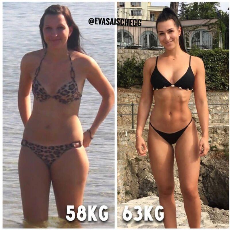 Женщина до и после похудения набравшая вес 14