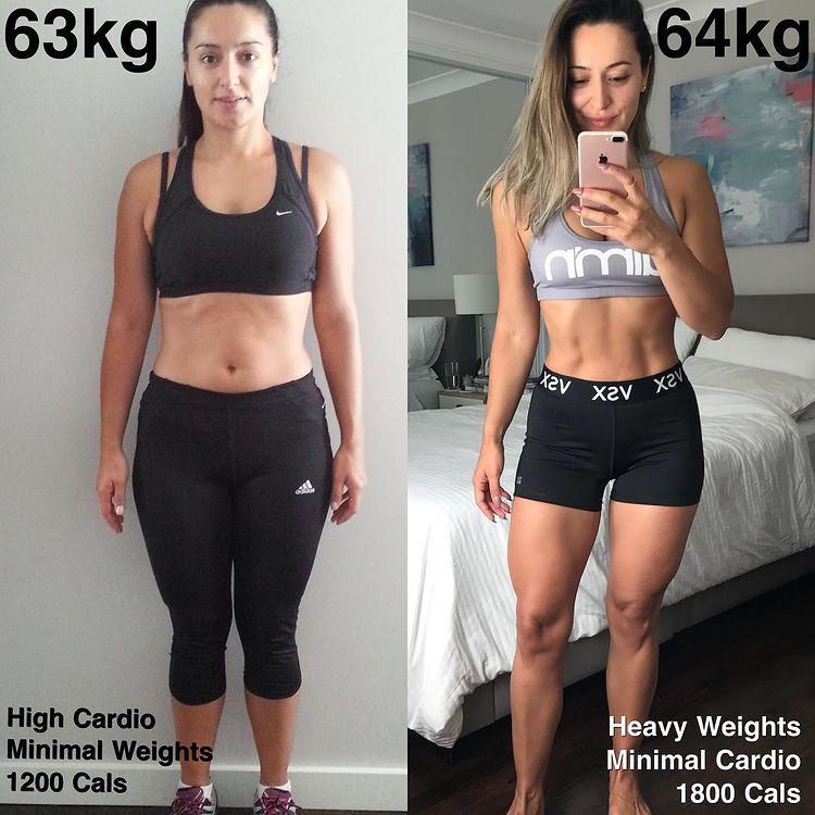 Женщина до и после похудения набравшая вес 13