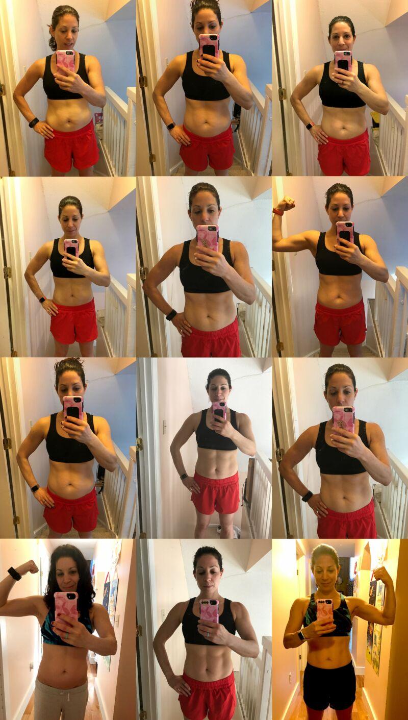 Женщина себя фотографирует во время похудения