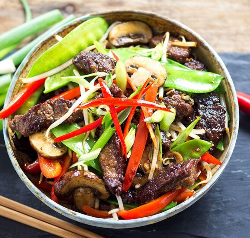 Мясо с овощами в тарелке